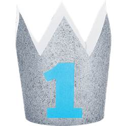 Age 1 Silver Glitter Mini Crown - 10cm