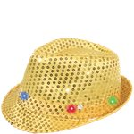 Gold Sequin LED Light Up Trilby Hat