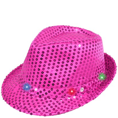 Pink Sequin LED Light Up Trilby Hat front