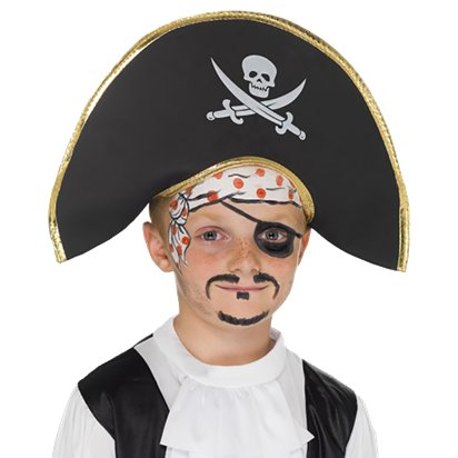 Children's Skull & Crossbone Pirate Hat - Kid's Pirate Fancy Dress Costume Accessories left