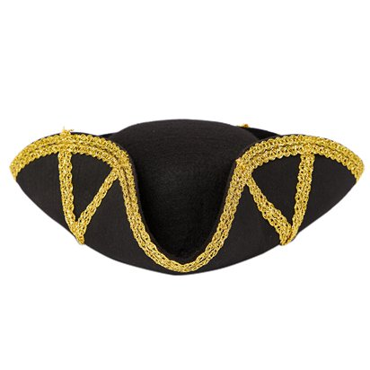 Black & Gold Admiral Tricorn Pirate Hat - Women's Pirate Fancy Dress Costume Accessories front