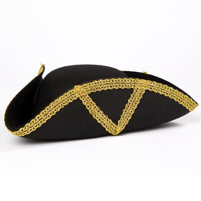 Black & Gold Admiral Tricorn Pirate Hat - Women's Pirate Fancy Dress Costume Accessories left