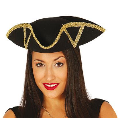 Black & Gold Admiral Tricorn Pirate Hat - Women's Pirate Fancy Dress Costume Accessories right