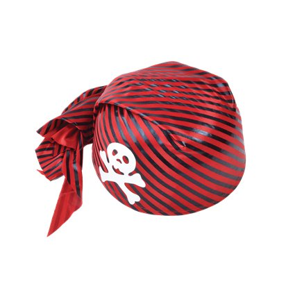 Adult Red & Black Skull Bandana Hat - Men's Pirate Fancy Dress Costume Hats & Accessories front
