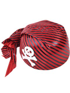Adult Red & Black Skull Bandana Hat