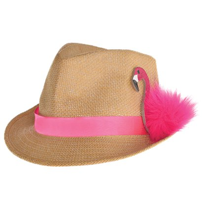 Flamingo Fedora - Summer Party Hats & Accessories - Festival Hats front