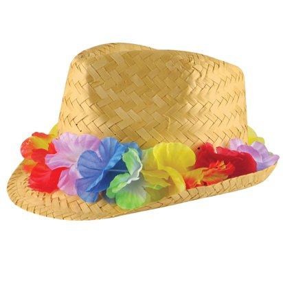 Straw Hat with Flower Band - Summer Party Hats & Accessories - Festival Hats front