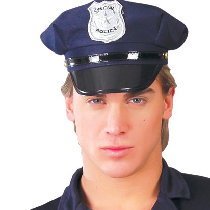 Navy Police Hat - Men's Police Fancy Dress Costume Accessories left
