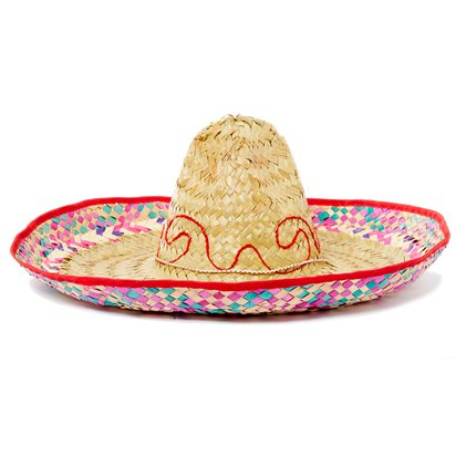 Natural Straw Sombrero - Mexican Hat - Adult Mexican Fancy Dress Costume Accessories front