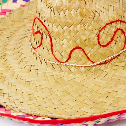 Natural Straw Sombrero - Mexican Hat - Adult Mexican Fancy Dress Costume Accessories left