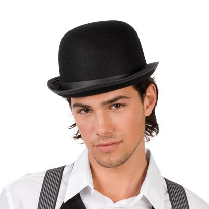Black Felt Bowler Hat - Adults 20's Fancy Dress Costume Accessories left