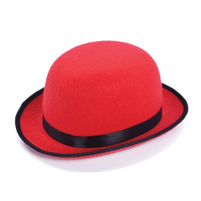 Red Bowler Hat - Adults 20's Fancy Dress Costume Accessories front
