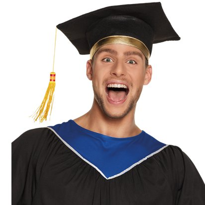 Graduation Mortar Hat - Adults Graduation Fancy Dress Costume Accessories left
