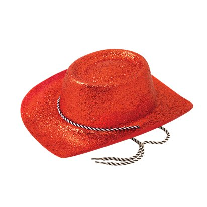 Red Glitter Cowboy Hat - Women's Hen Party Hats front