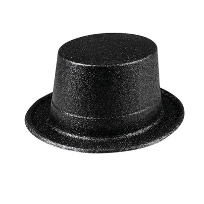 Black Glitter Top Hat - The Greatest Showman Ringmaster Fancy Dress Accessories front
