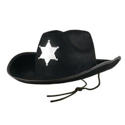 Fancy Dress Accessories Child's Black Cowboy Hat with Star