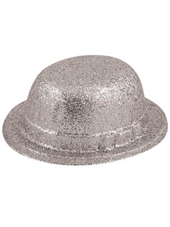 Silver Glitter Bowler Hat