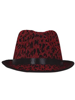 Red Leopard Gangster Fedora