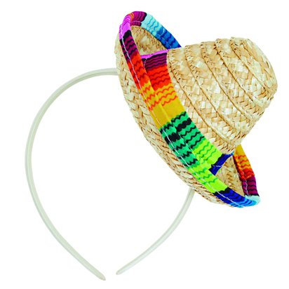 Mini Straw Sombrero - Womens Mexican Fancy Dress Accessories front