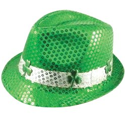 St Patrick's Day Sequin Fedora Hat