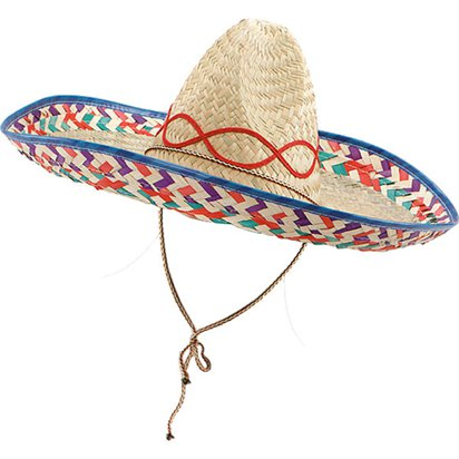 Natural Straw Sombrero Hat - Mexican Hat - Adult Mexican Fancy Dress Costume Accessories front