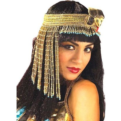 Cleopatra Gold Beaded Headpiece - Fancy Dress Accessories front