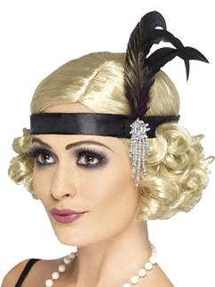 Charleston Black Flapper Headband