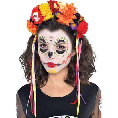 Day of the Dead Headpiece - Women's Floral Halloween Headband  front