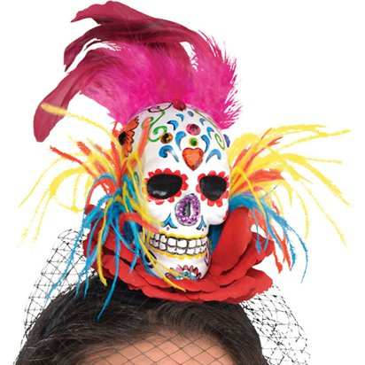 Sugar Skull Couture Headband - Women's Halloween Day of the Dead Headband front