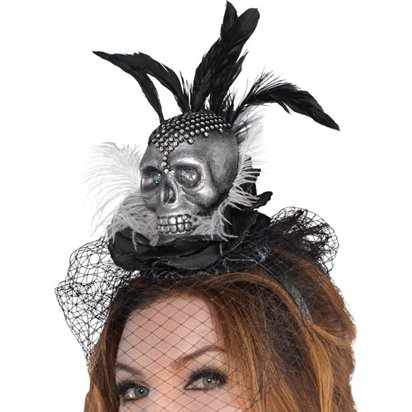 Skull Couture Headband - Women's Halloween Headband - 17cm front