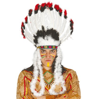 Plume Feather Indian  Headdress - Adult Native American Fancy Dress Hats - One Size front