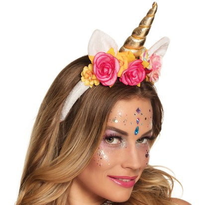Rose Unicorn Headband - Fancy Dress Headpieces & Accessories - Festival Headbands front