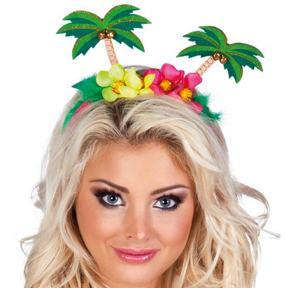 Palm Tree Headband - Hawaiian Summer Party Hats & Accessories - Festival Headbands front