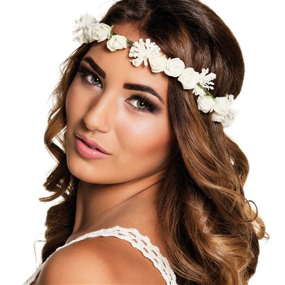 White Flower Festival Headband - Summer Party Hats & Accessories - Festival Headbands front
