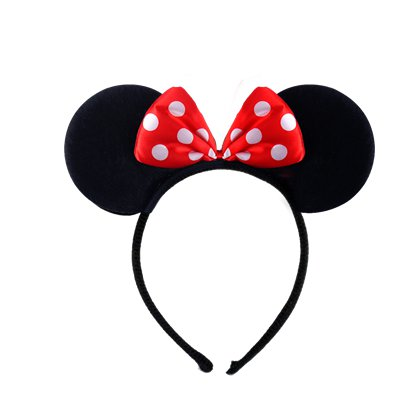 Mouse Ears Headband With Red Bow - Minnie Mouse Headband & Fancy Dress Costume Accessories front