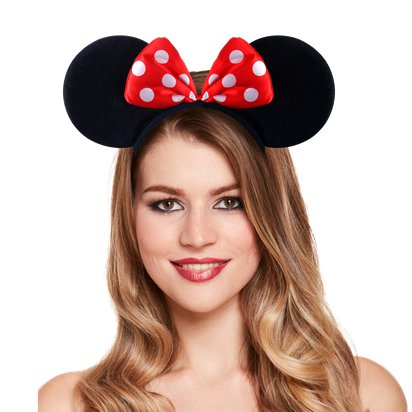 Mouse Ears Headband With Red Bow - Minnie Mouse Headband & Fancy Dress Costume Accessories left