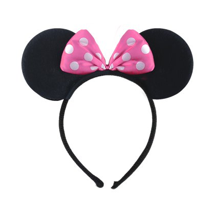 Mouse Ears Headband With Pink Bow - Minnie Mouse Headband & Fancy Dress Costume Accessories front