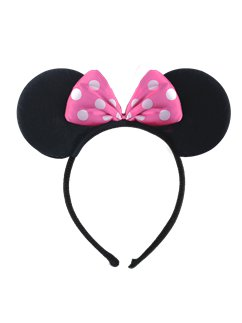 Mouse Ears Headband With Pink Bow