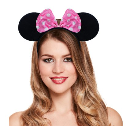 Mouse Ears Headband With Pink Bow - Minnie Mouse Headband & Fancy Dress Costume Accessories left