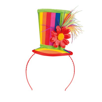 Mini Rainbow Top Hat - Adult Circus Clown Fancy Dress Costume Accessories front
