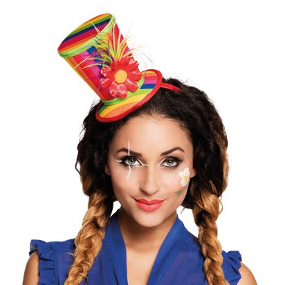 Mini Rainbow Top Hat - Adult Circus Clown Fancy Dress Costume Accessories left