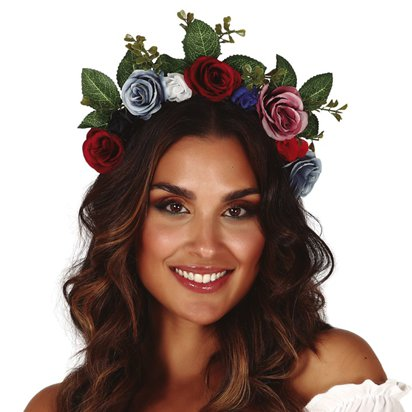 Flower Garland Headband  - Festival Ladies Fancy Dress Accessory front