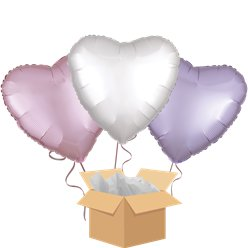 Satin Heart Mix Balloon Bouquet - Delivered Inflated