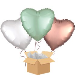 Satin Mint & Rose Gold Hearts Balloon Bouquet - Delivered Inflated