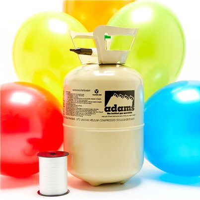 "Helium Canister with 16 x 11"" Latex Balloons (Assorted Colours - 20pk) & Ribbon"