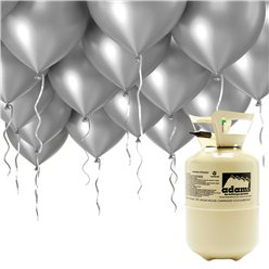"Helium Canister Including 30 x 9"" Silver Balloons & Ribbons"