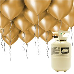 "Helium Canister Including 30 x 9"" Gold Balloons & Ribbons"