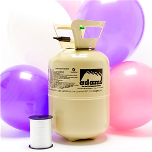 Helium Canister with 30 Pink & White Balloons & Ribbon