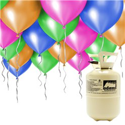 "Helium Canister Including 30 x 9"" Assorted Balloons & Ribbons"