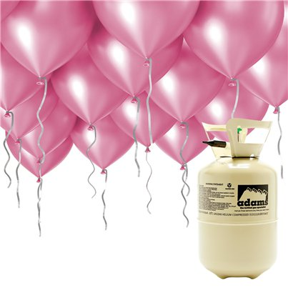 "Helium Canister Including 30 x 9"" Pink Balloons & Ribbons"